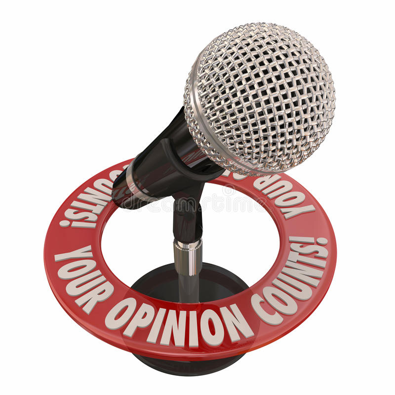 Your Opinion Counts Microphone Share Comments Ideas. Your Opinion Counts words in 3d words around a microphone to illustrate comments, feedback and ideas to vector illustration