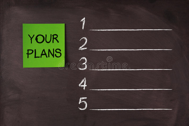 Your Plans List. 'Your Plans' note pasted on blackboard which can be background for your plans list stock photo