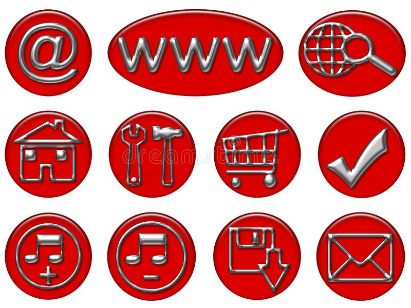 Your Red & Gray shiny web button icons are ready