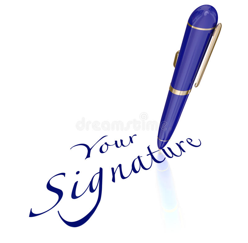Your Signature Pen Signing Name Autograph. Your Signature words and pen signing name or autograph on contract, agreement or other legal document or letter stock illustration