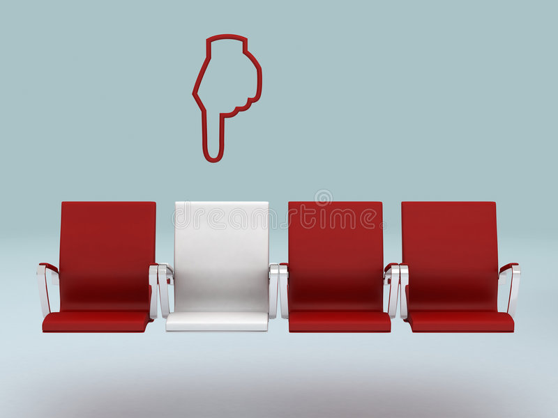 Your special seat concept , rendered in 3d. Your special seat concept , red and white , rendered in 3d royalty free illustration