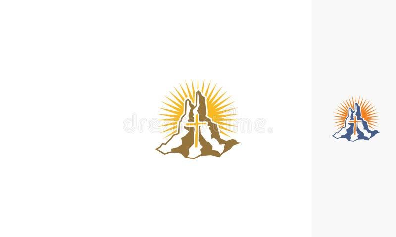 Hill cross church logo vector stock illustration
