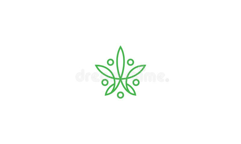 Abstract cannabis line art logo icon vector. For your stock vector needs. My vector is very neat and easy to edit. to edit you can download .eps royalty free illustration