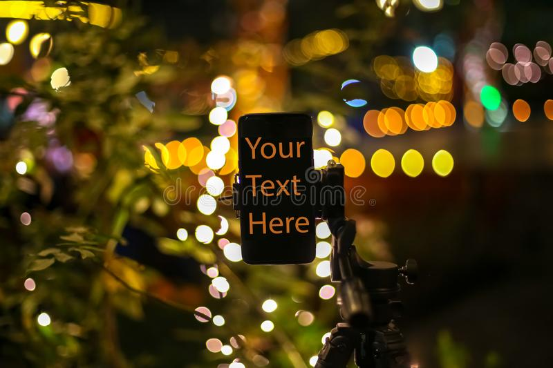 Your text here with bokeh of lights stock illustration