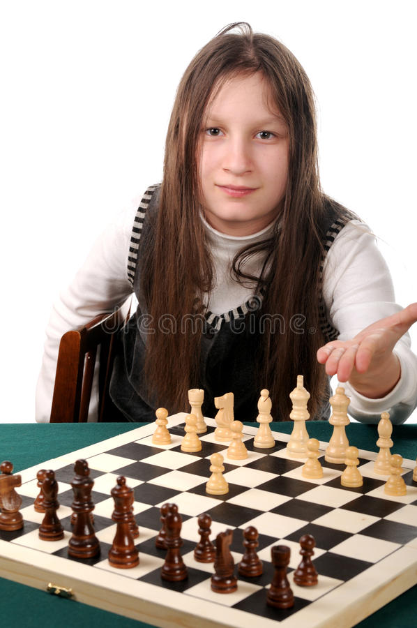 Download Your Turn. Girl Inviting To Play Chess Stock Photo - Image of pleasure, portrait: 11947900