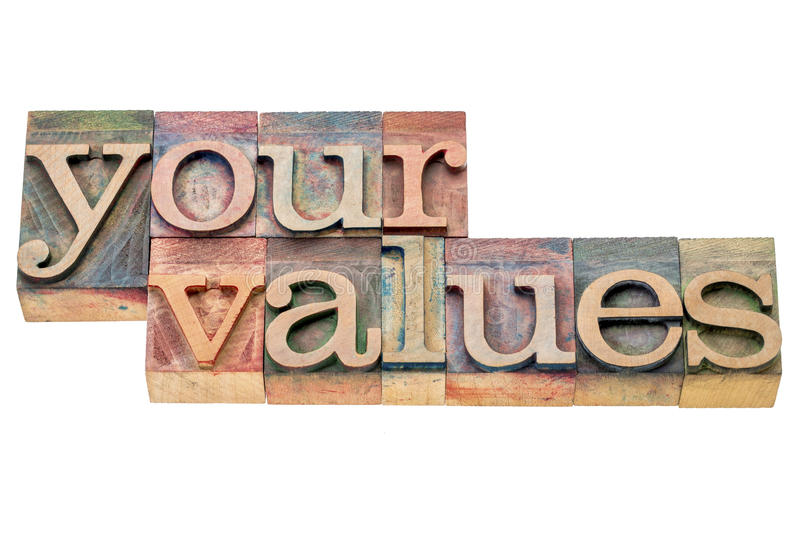 Your values word abstract. Your values - isolated word abstract in letterpress wood type printing blocks stained by color inks royalty free stock image