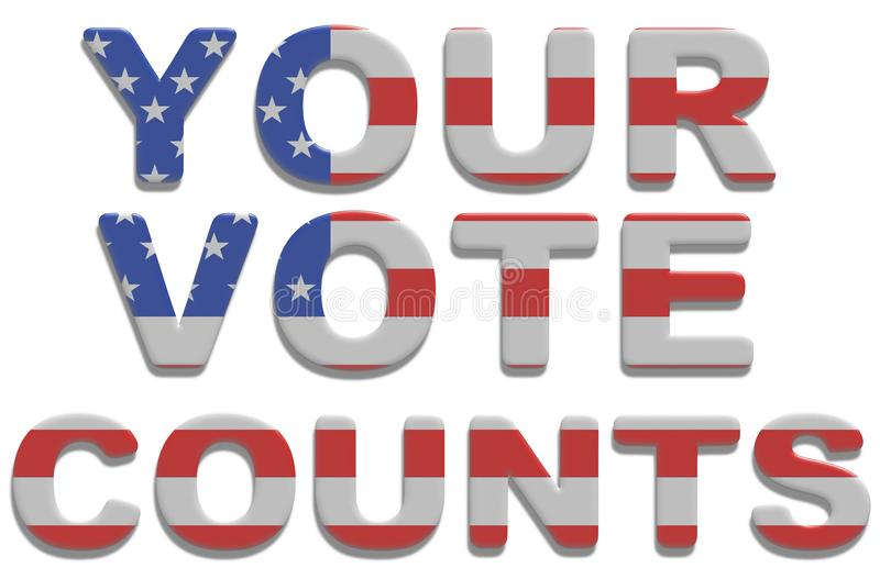 Your Vote Counts. Illustrated text saying your vote counts with american flag texture vector illustration