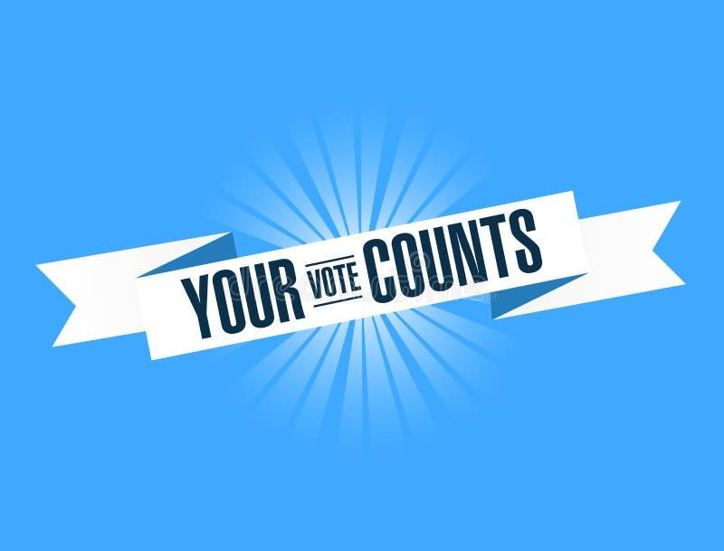 your vote counts, blue ribbon Illustration Design graphic. vector illustration
