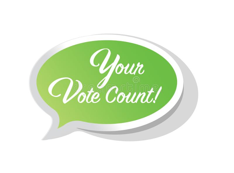 Your vote counts. Bubble message isolated over a white background vector illustration