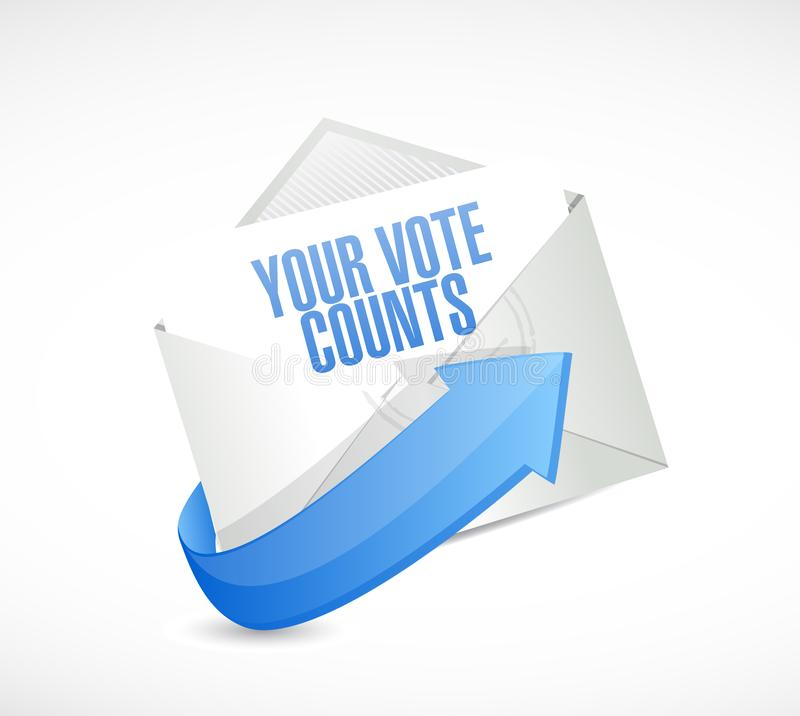 Your vote counts email post it message concept. Illustration isolated over a white background vector illustration