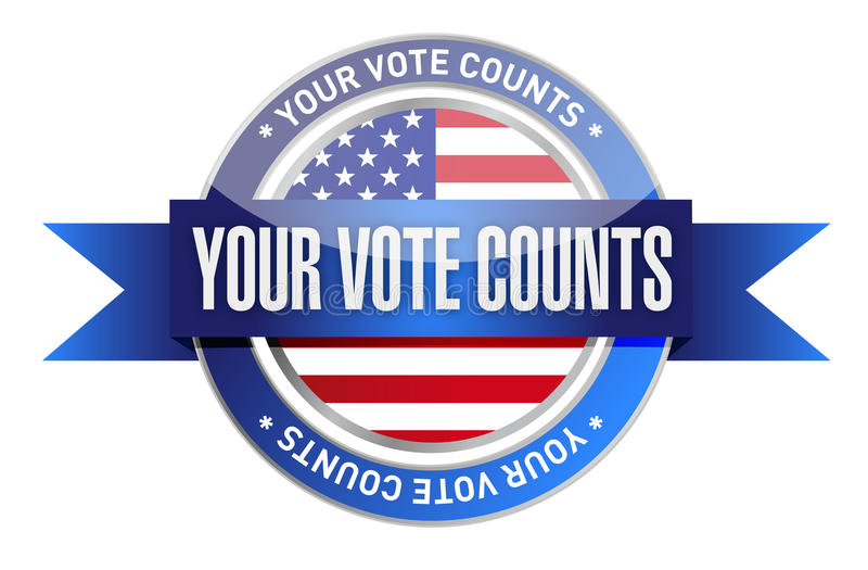 Your vote counts seal stamp illustration. Design over a white background royalty free illustration