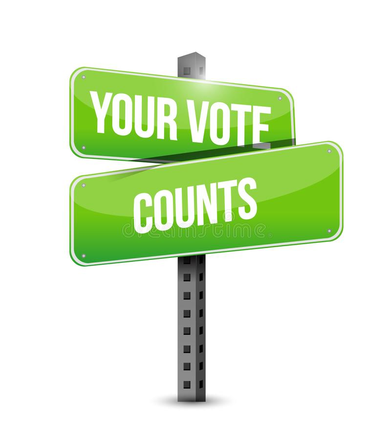 Your vote counts street sign message concept. Illustration isolated over a white background royalty free illustration