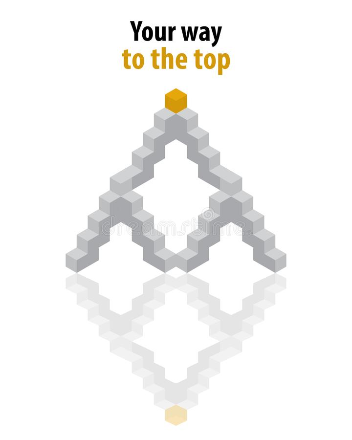 Your way to the top. Stairs, step out of the grey, orange blocks th royalty free illustration