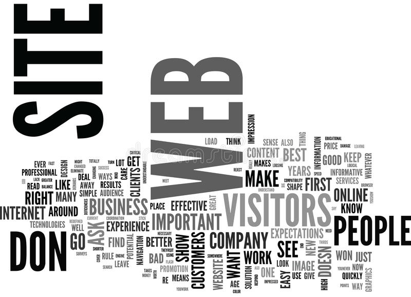 Is Your Web Site Ready For Its Visitors Word Cloud Concept stock illustration