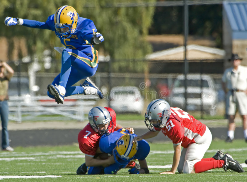Youth American Football air stock photos