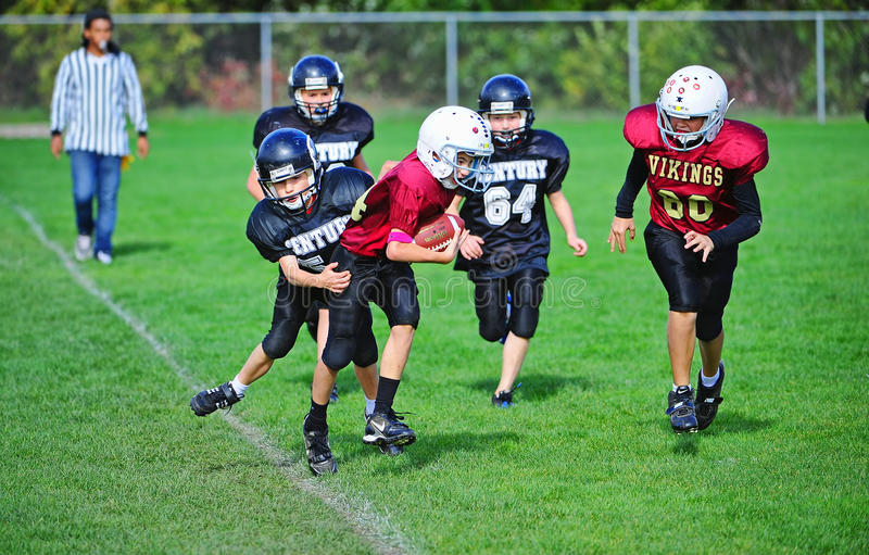 Youth American Football out of bounds royalty free stock images