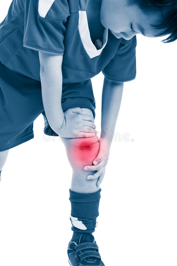 Free Youth Asian Soccer Player With Pain At Knee. Isolated On White B Royalty Free Stock Images - 90017429