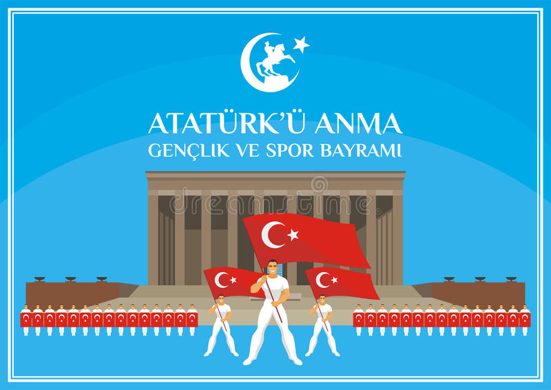 Youth day banner. Translation from Turkish: May 19, Ataturk Memorial day, holiday of youth and sport. A vector illustration by a public holiday of Turkey royalty free illustration