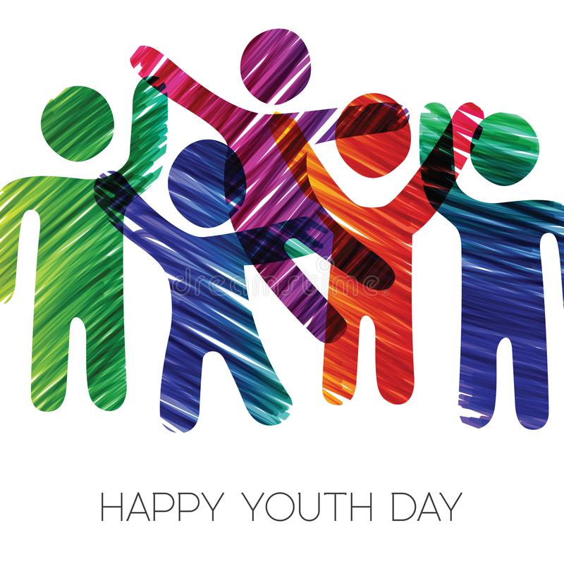 Youth Day card of colorful diverse teen group. Happy Youth Day greeting card illustration. Fun teen group in diverse colors made of grunge hand drawn texture stock illustration