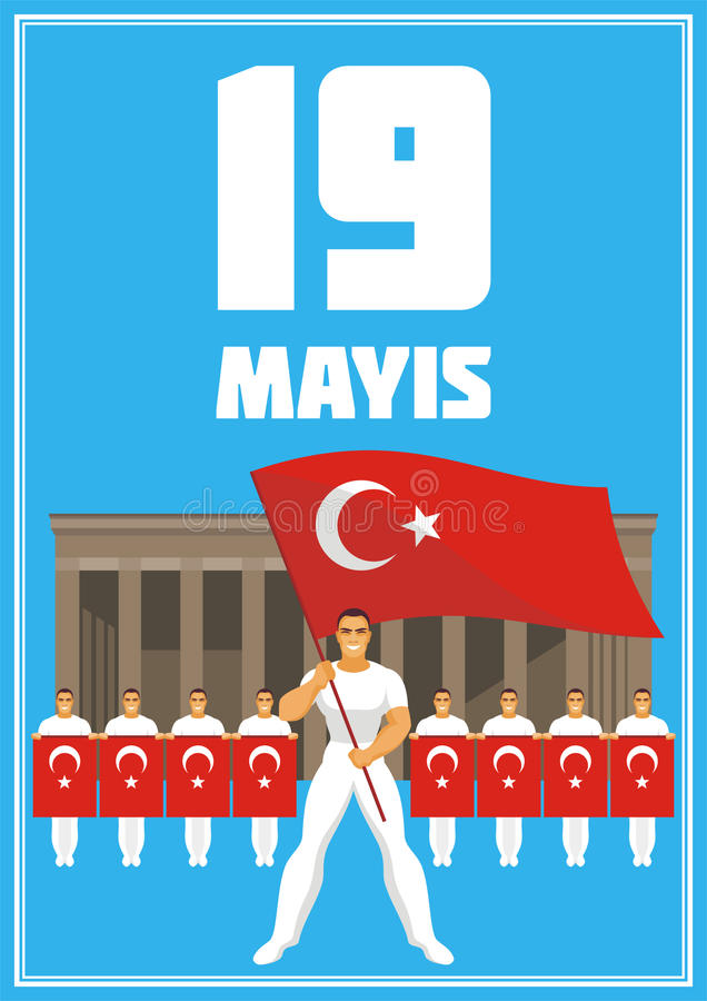 Youth day poster. May 19, Ataturk Memorial day, holiday of youth and sport. A vector illustration by a public holiday of Turkey royalty free illustration