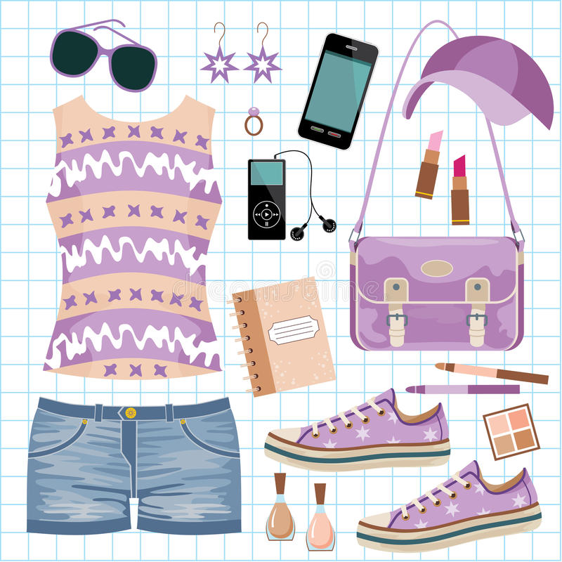 Download Youth fashionable set stock vector. Image of clothing - 25871501