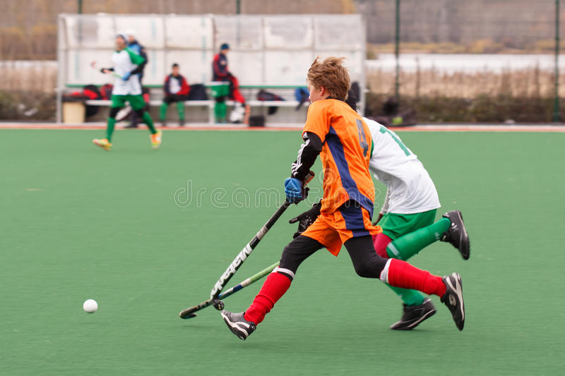 Youth field hockey competition stock photography