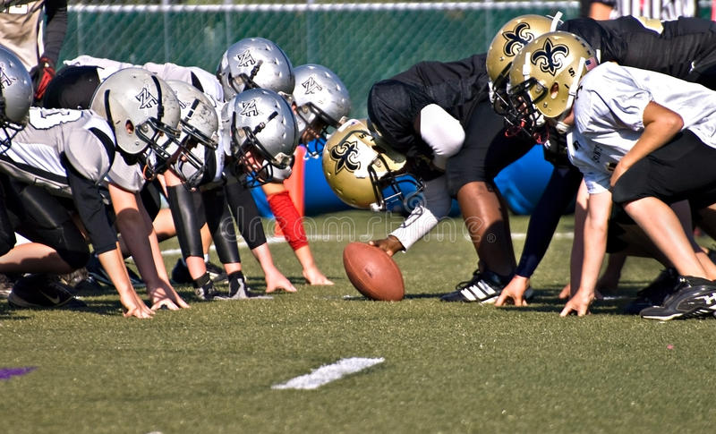 Youth Football Line of Scrimmage stock photo