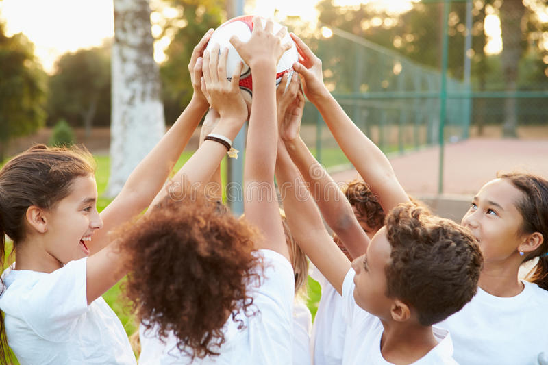 Youth Football Team Training Together royalty free stock image