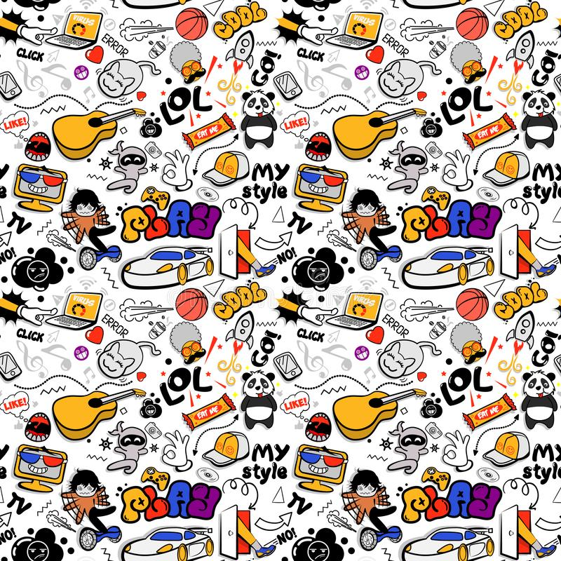 Vector graffiti seamless texture with bizarre elements and characters with social media signs and other shiny icons. royalty free illustration