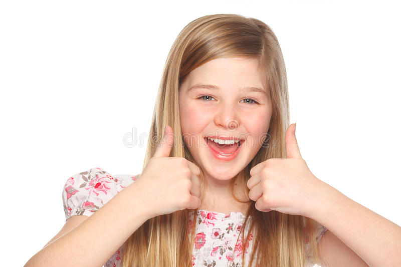 Youth girl with thumbs up yeah stock photography