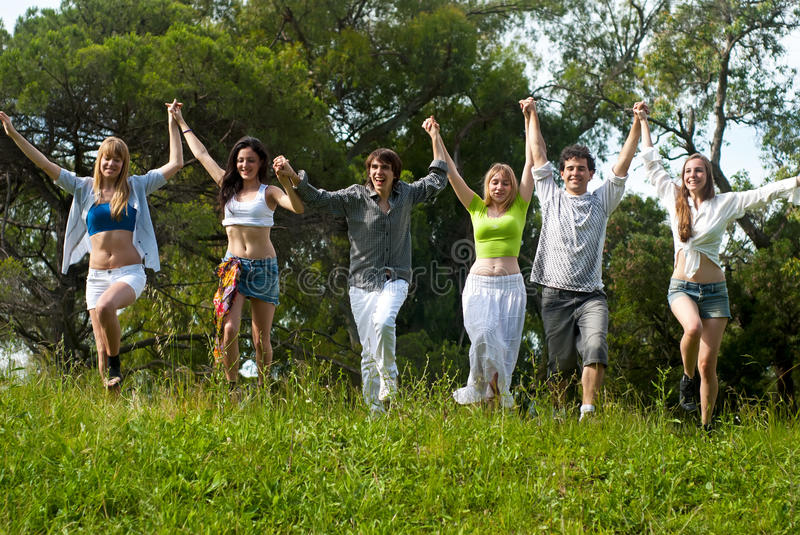 Youth group against the nature royalty free stock images