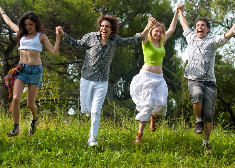 Youth group against the nature royalty free stock photo
