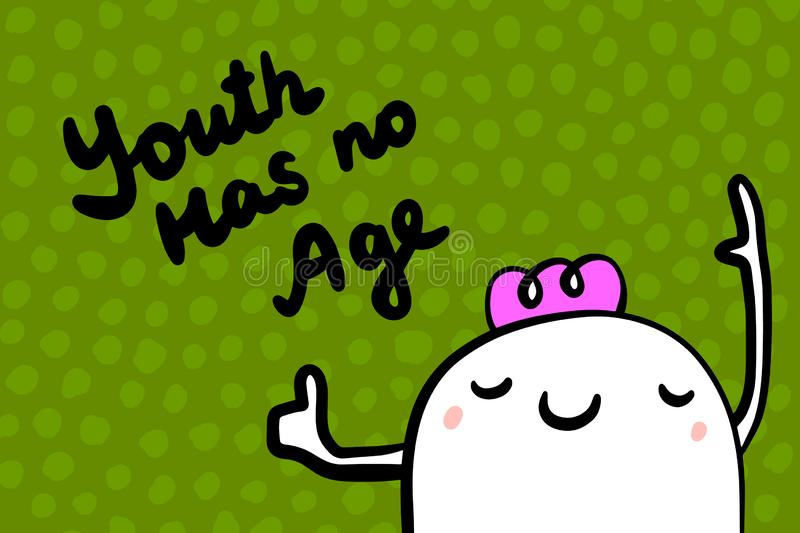 Youth has no age hand drawn  illustration in cartoon style. Old woman with violet hair cheerful. Minimalism on green textured font royalty free illustration