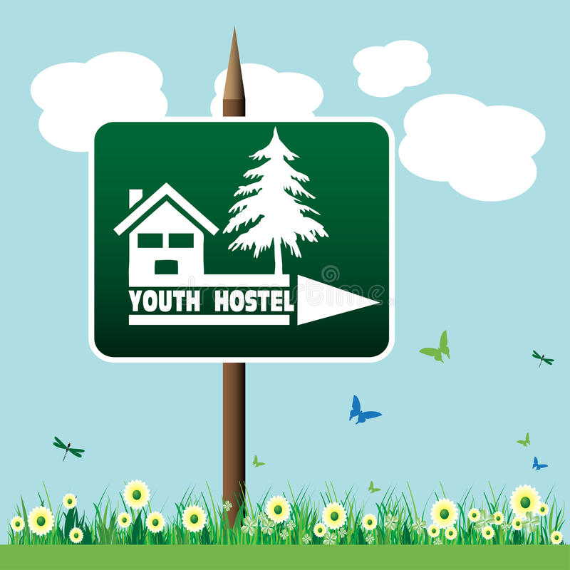 Youth hostel sign. Abstract colorful background with a youth hostel green plate planted in a flower field indicating the right direction to the hostel stock illustration