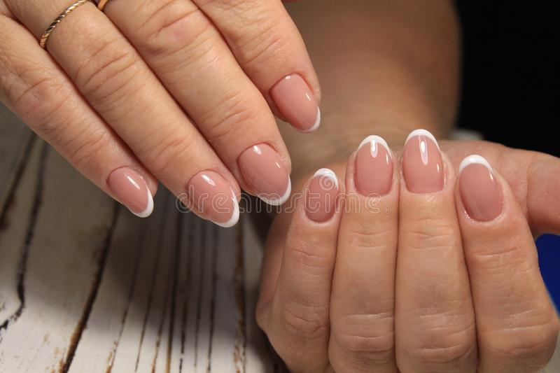 Youth manicure design best nails, gel varnish royalty free stock photography