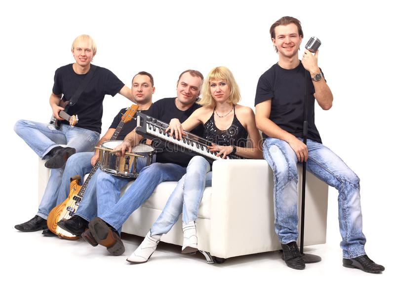 Youth music group with instruments.isolated on a white royalty free stock photos