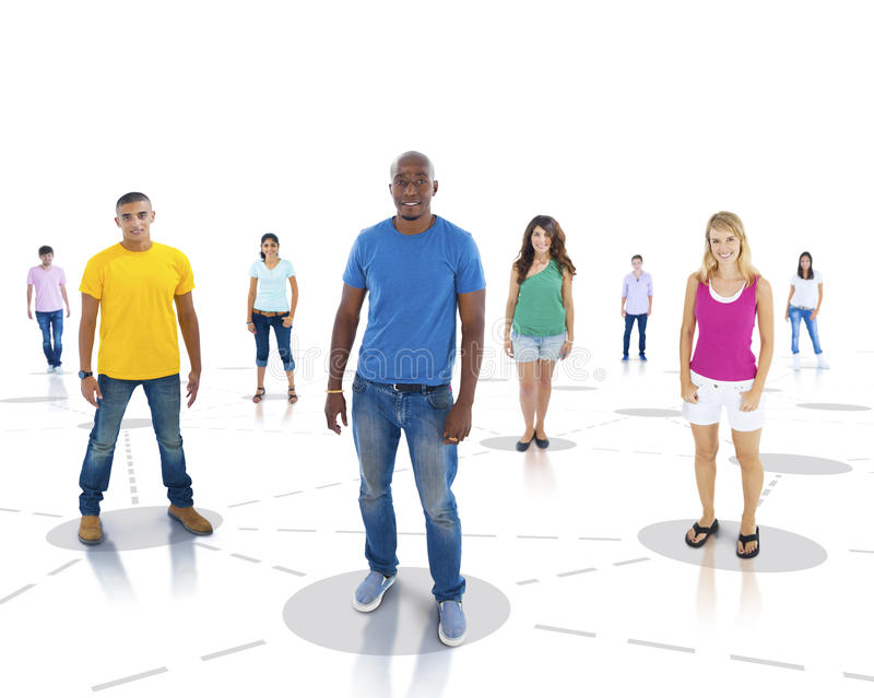 Youth network Communication Community Standing Concept stock photo