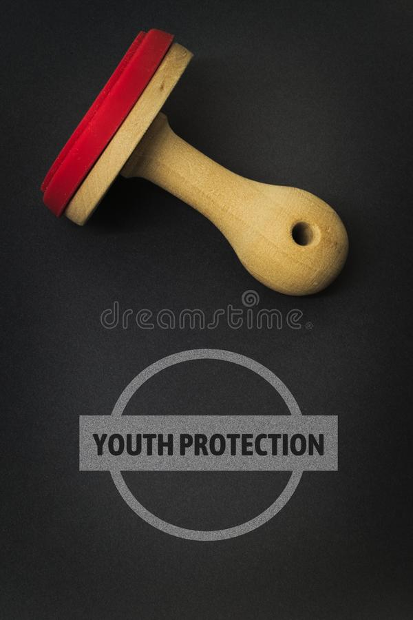 YOUTH PROTECTION - image with words associated with the topic MOVIE, word, image, illustration. YOUTH PROTECTION - image with words associated with the topic royalty free stock photography