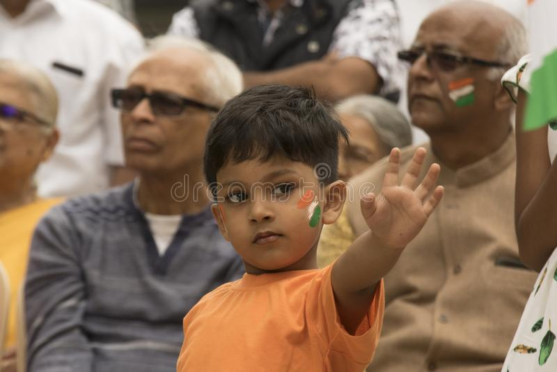 Youth and seniors celebrating Indian Independence Day. Independence day celebration stock photography
