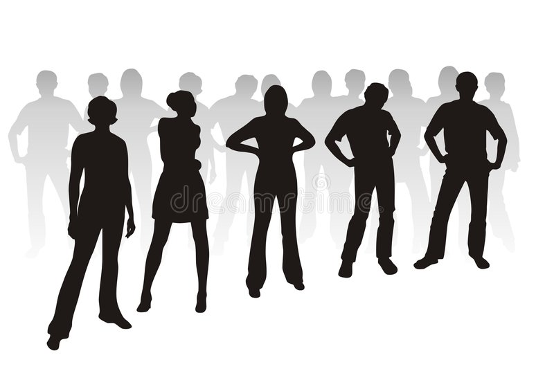 Youth silhouettes royalty free illustration