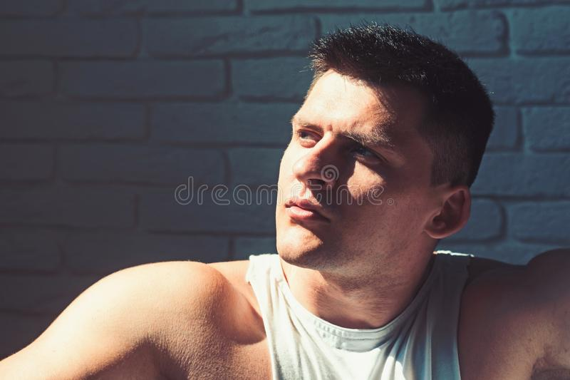 Youth, skincare and grooming concept. Man with young face. Macho with short hair or haircut. Handsome guy with healthy royalty free stock photos