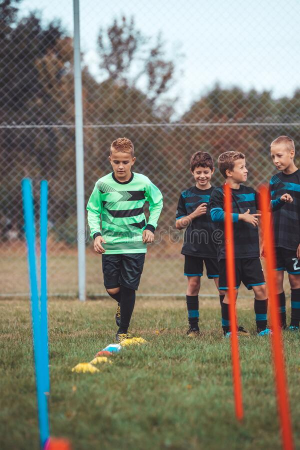 Youth soccer practice drills royalty free stock image