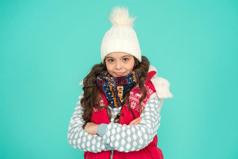 Youth street fashion. Winter fun. Feeling good any weather. Child care. Stay warm and stylish. Cold winter days. Vacation time. Stay active during season. Kid royalty free stock photos