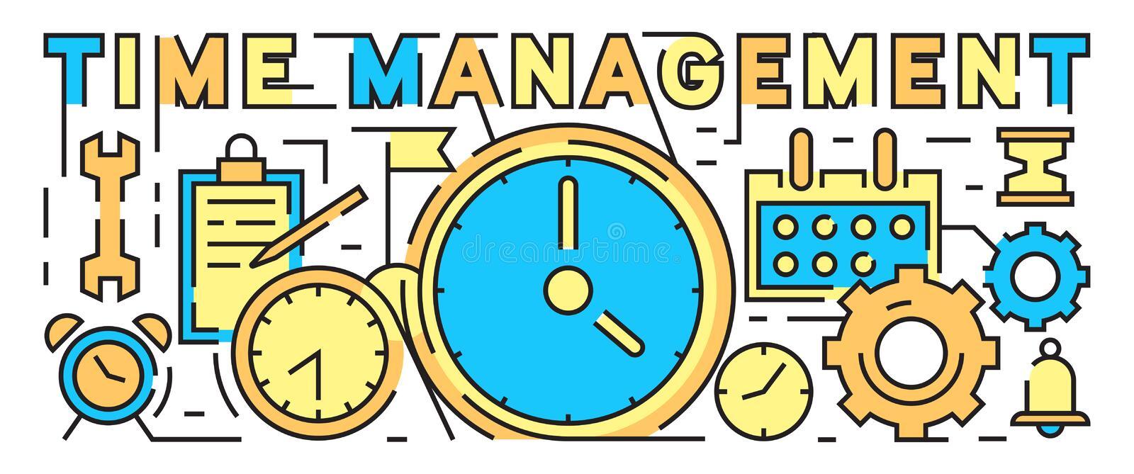 Time Management Concept. Time Is Money Bussines Concept. Colorful And Youthful Flat Line Design. Youth Style Vector vector illustration