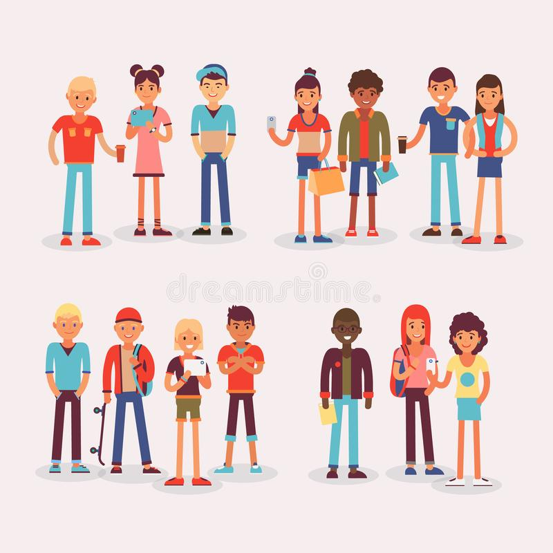 Youth teens group vector grouped teenagers and friends characters of girls or boys together illustration young student royalty free illustration