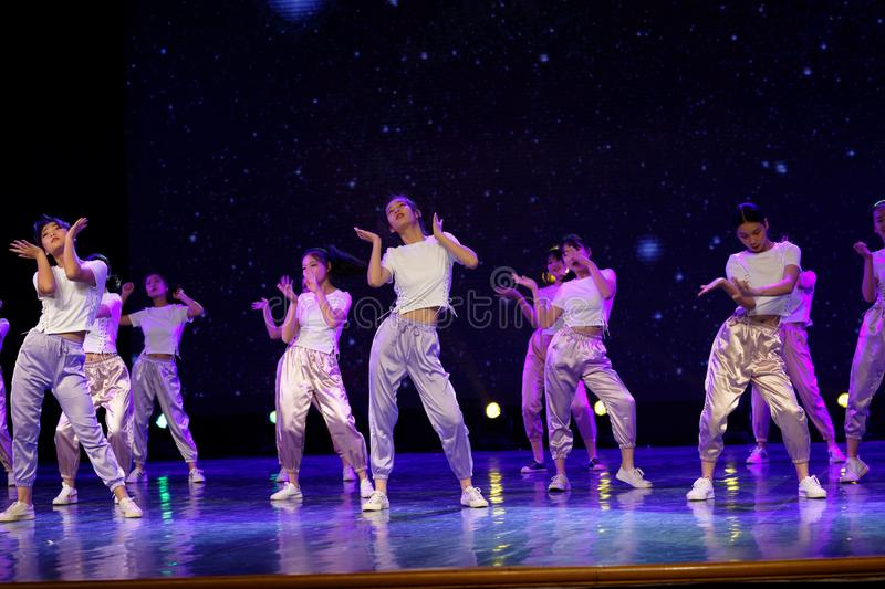 The Youth Zone 3 -Hip hop dance. The dance shows scenes of boys and girls, street dance. In June 13, 2018, dance dancers from all over the country performed at royalty free stock image