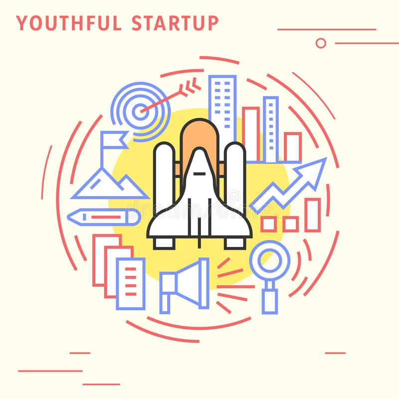 Youthful startup flat line design concept. Playful and modern illustration for business and company vector illustration