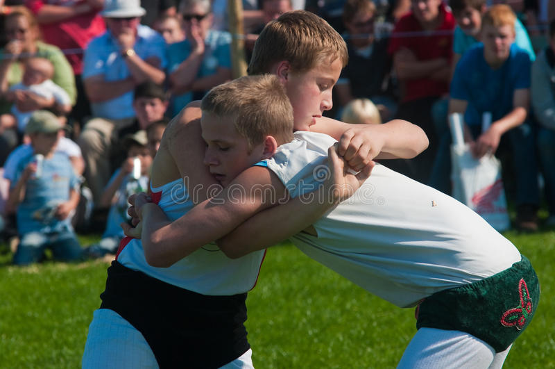 Youths wrestling royalty free stock images