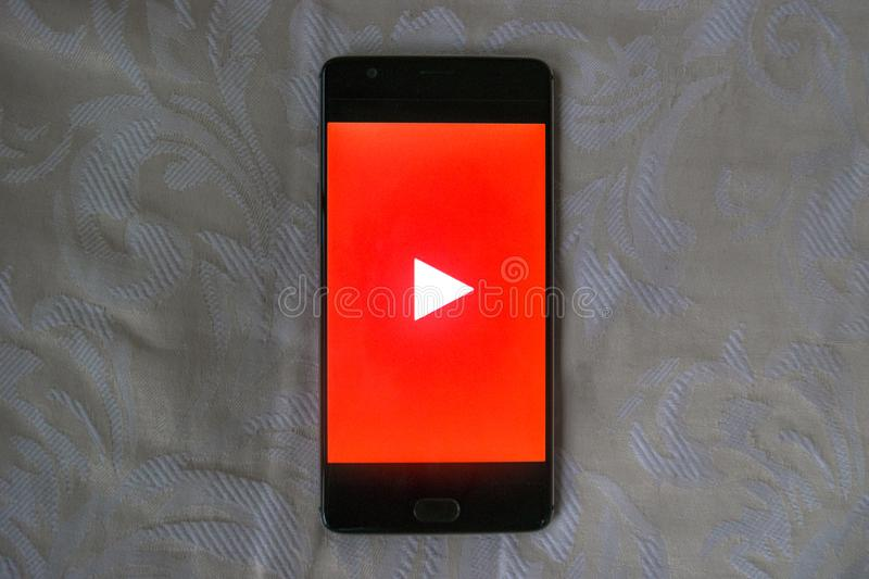 Youtube app on an android phone with white texture background stock photos
