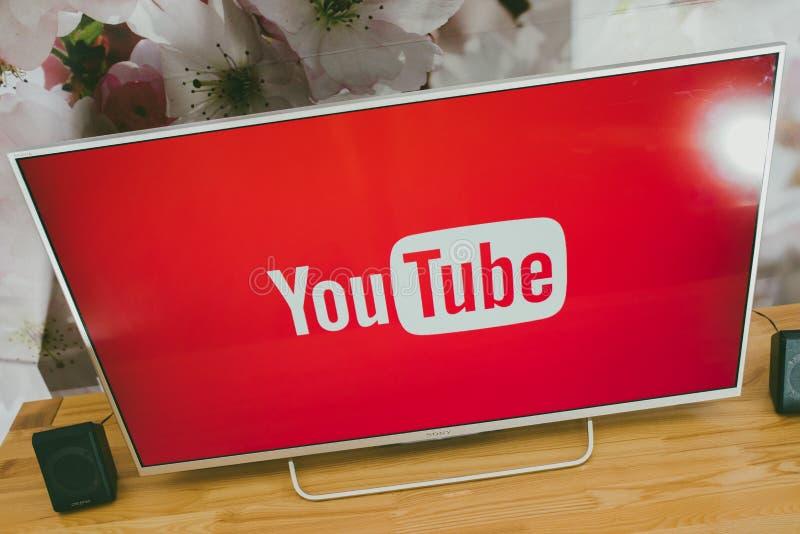 YouTube app on Sony smart TV royalty free stock photos